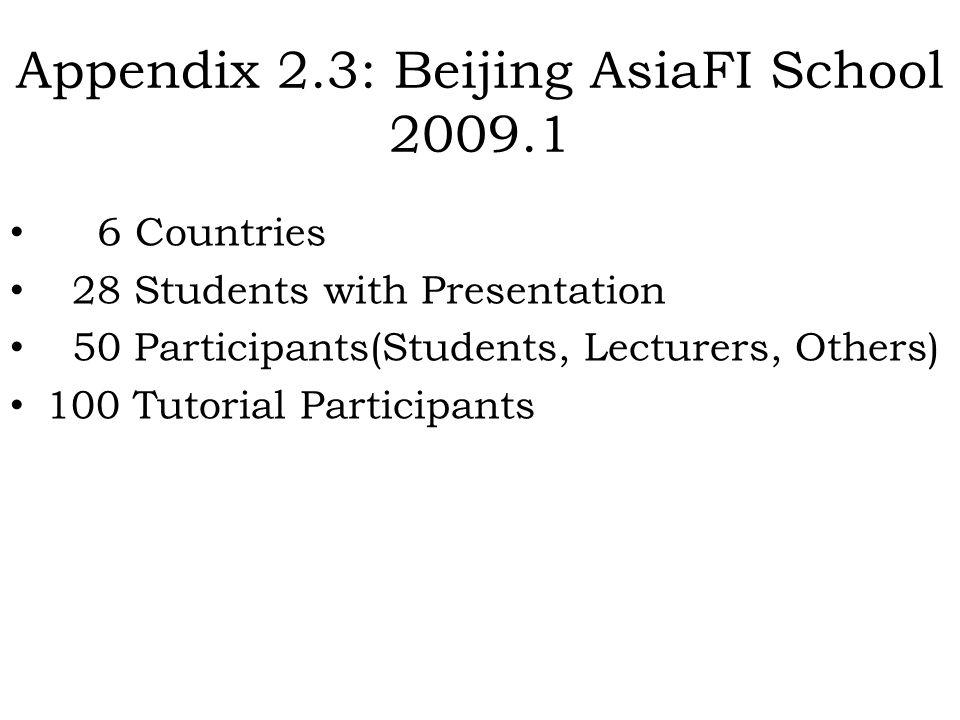 Appendix 2.3: Beijing AsiaFI School 2009.1
