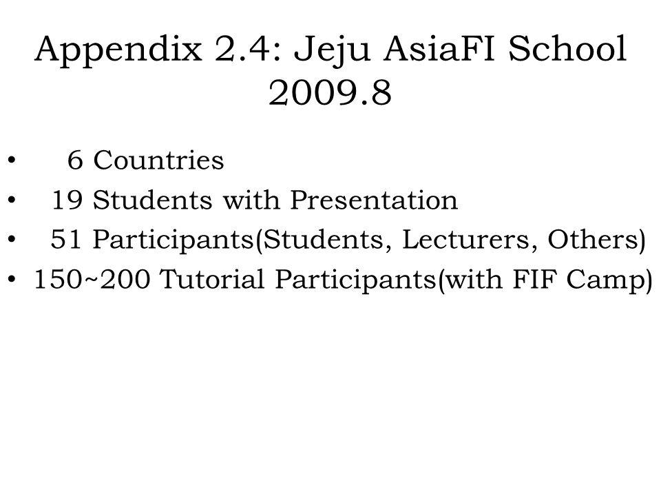 Appendix 2.4: Jeju AsiaFI School 2009.8