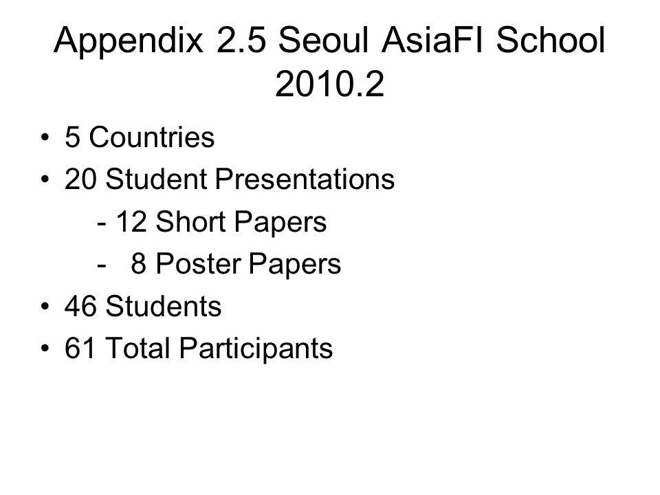 Appendix 2.5 Seoul AsiaFI School 2010.2