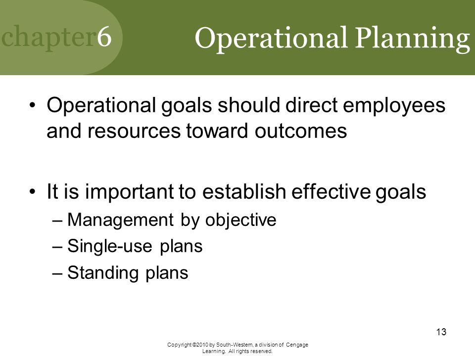 Operational Planning Operational goals should direct employees and resources toward outcomes. It is important to establish effective goals.