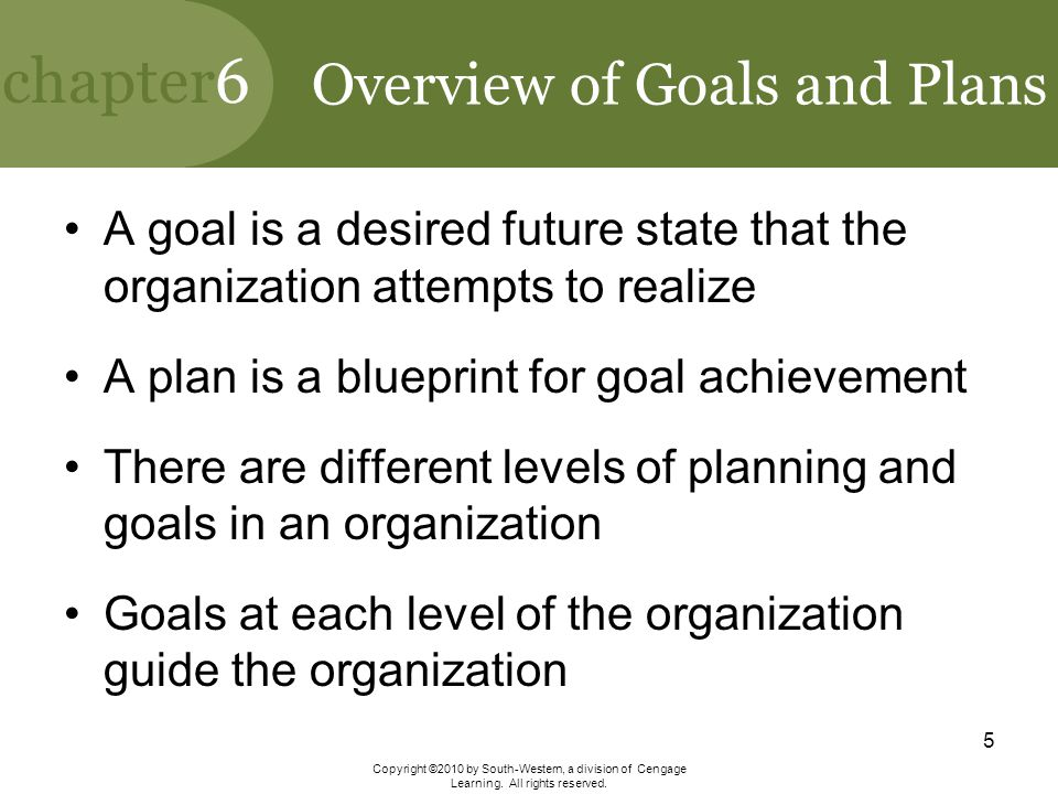 Overview of Goals and Plans