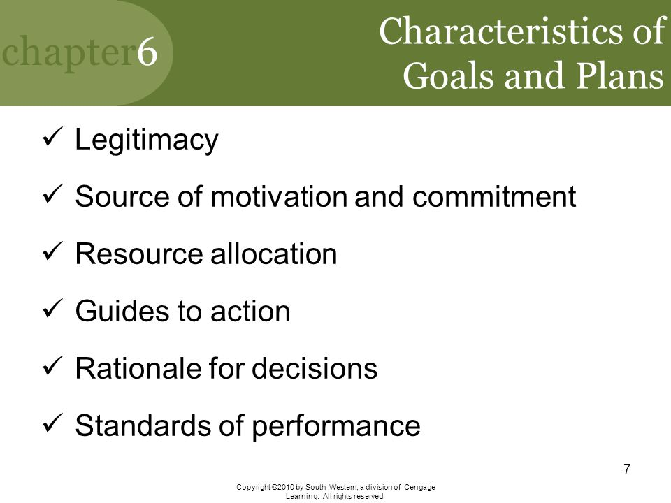 Characteristics of Goals and Plans