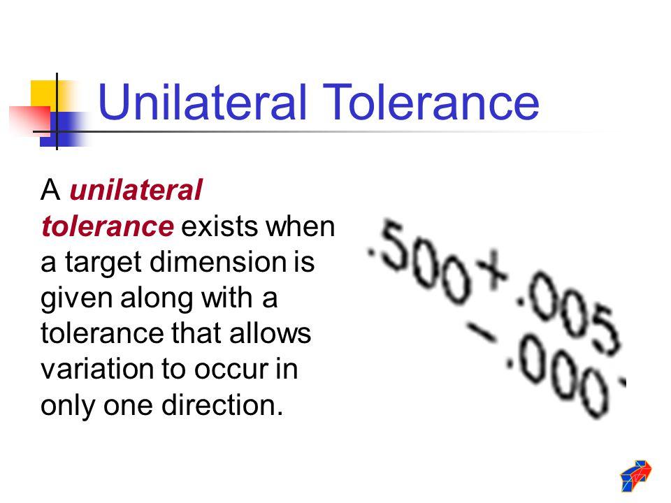 Unilateral Tolerance