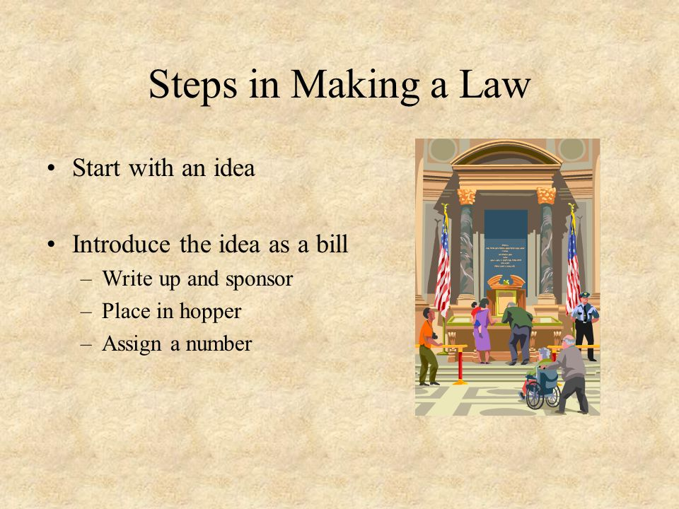 Steps in Making a Law Start with an idea Introduce the idea as a bill