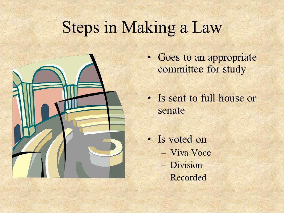 Steps in Making a Law Goes to an appropriate committee for study