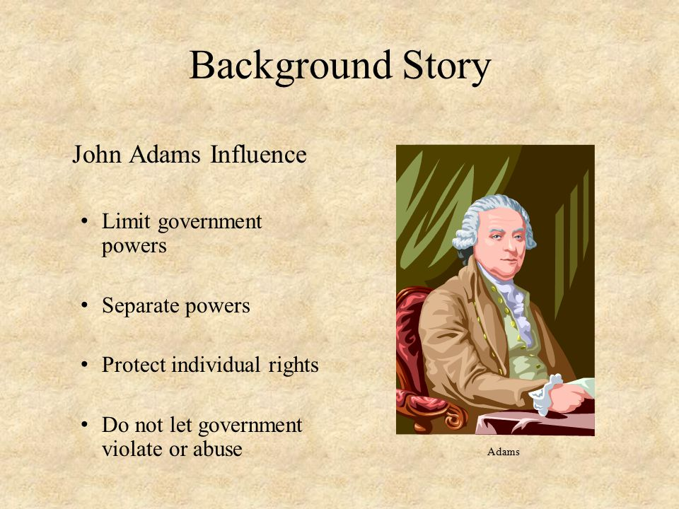 Background Story John Adams Influence Limit government powers