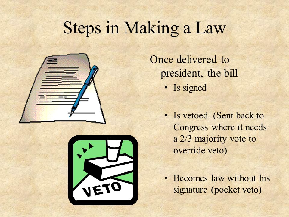 Steps in Making a Law Once delivered to president, the bill Is signed