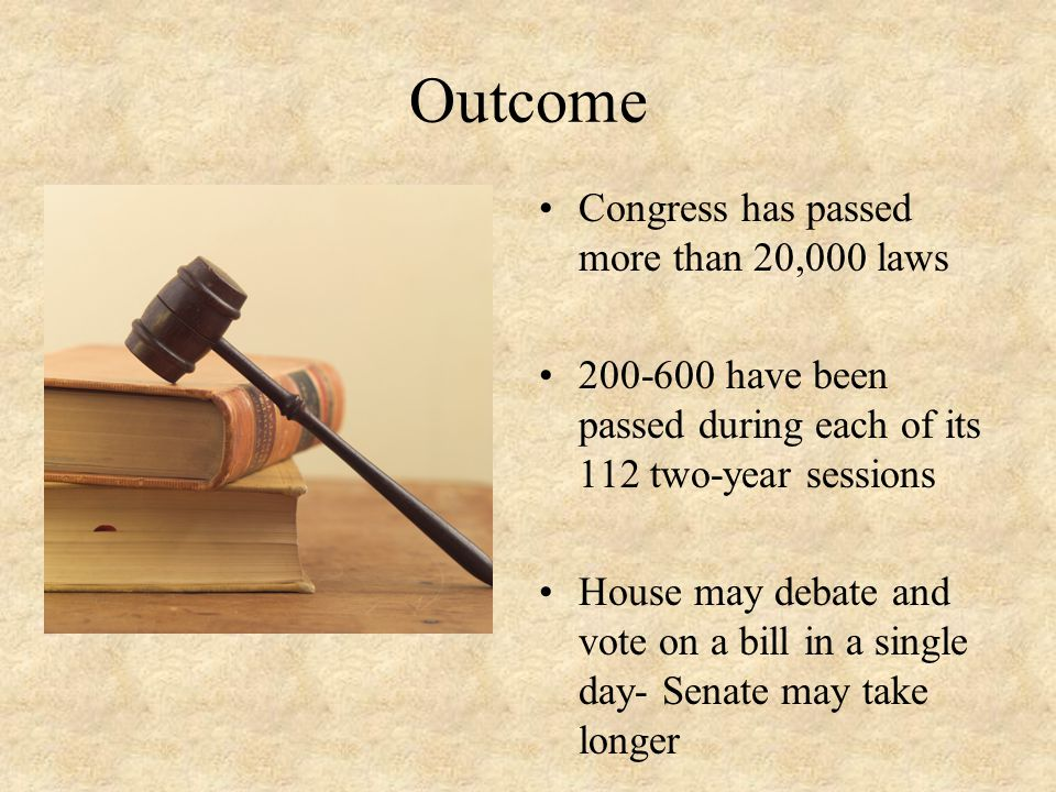 Outcome Congress has passed more than 20,000 laws