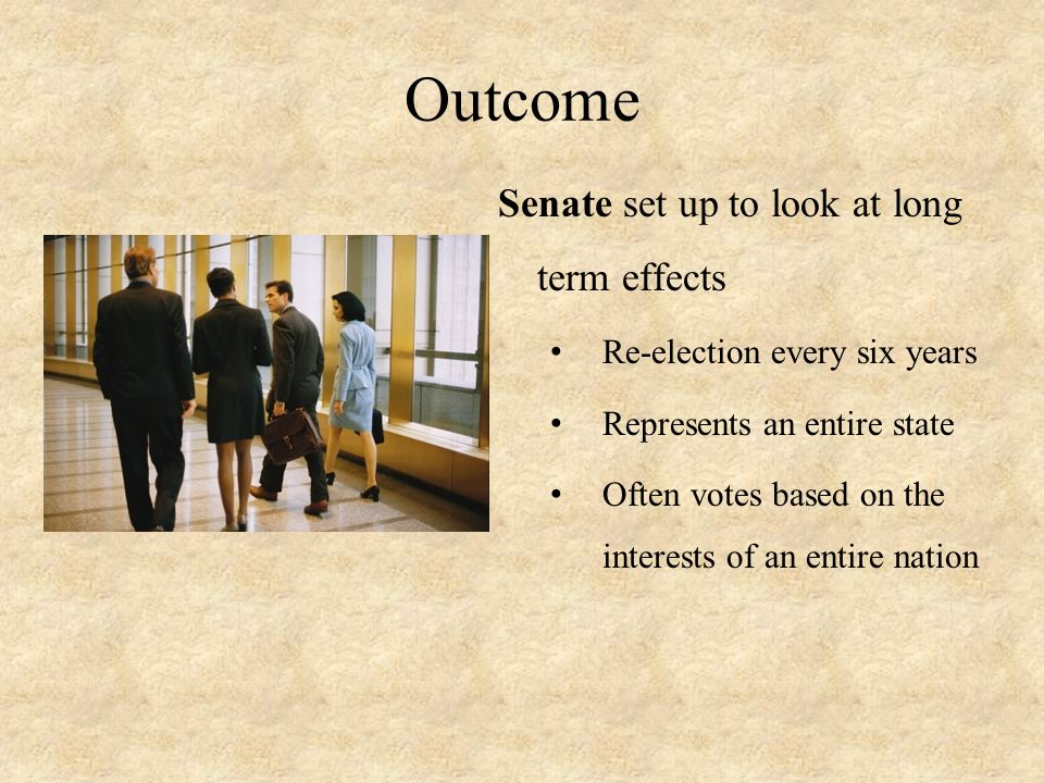 Outcome Senate set up to look at long term effects