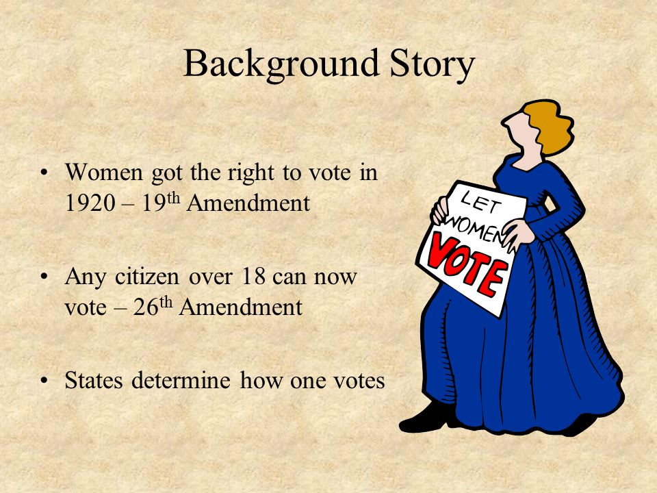 Background Story Women got the right to vote in 1920 – 19th Amendment