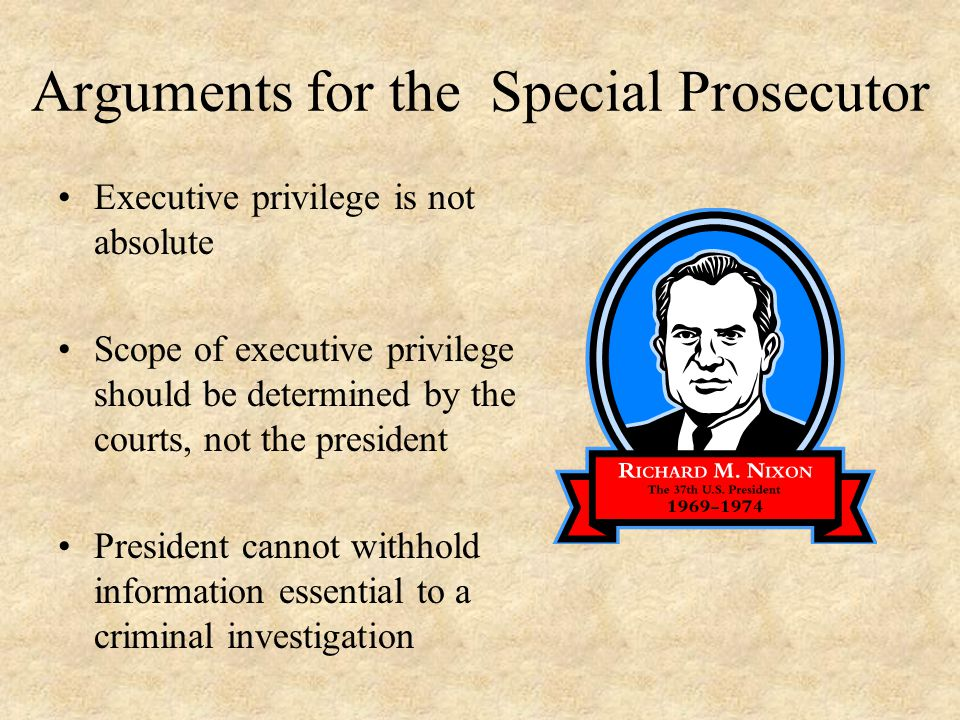 Arguments for the Special Prosecutor