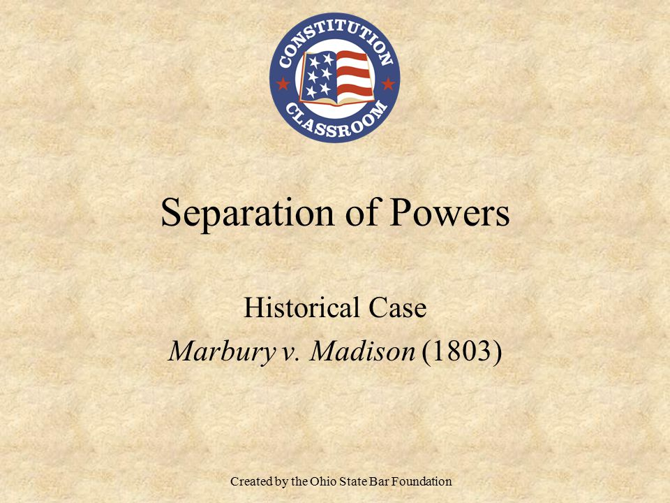 Historical Case Marbury v. Madison (1803)