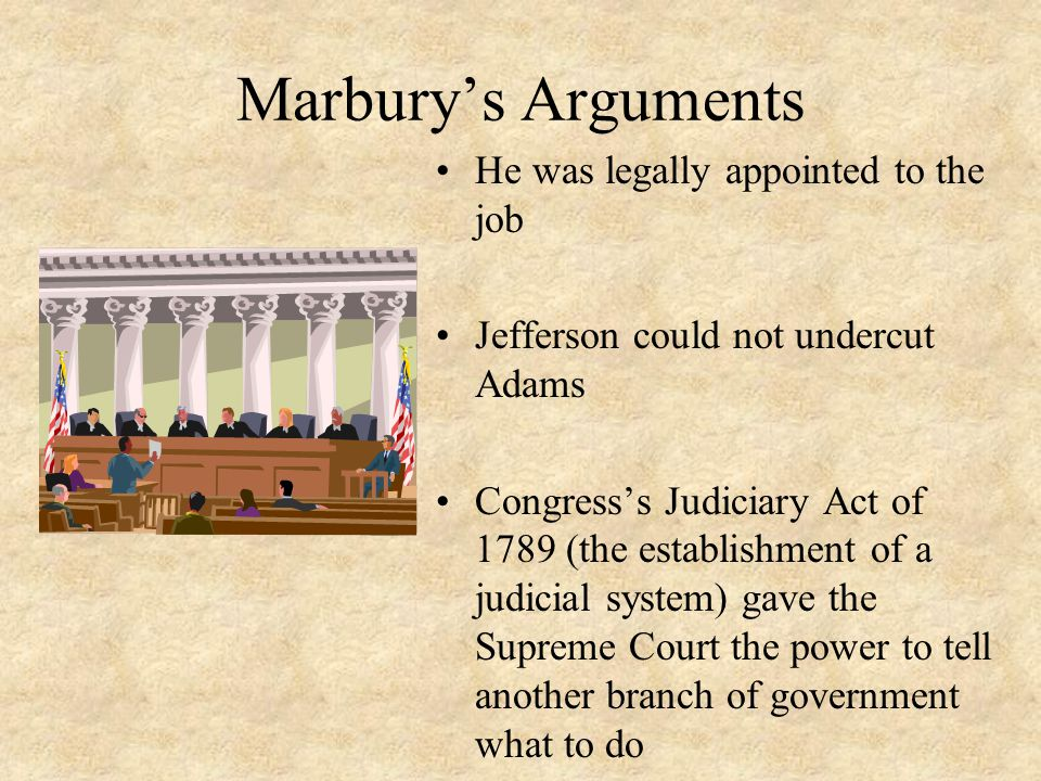 Marbury's Arguments He was legally appointed to the job