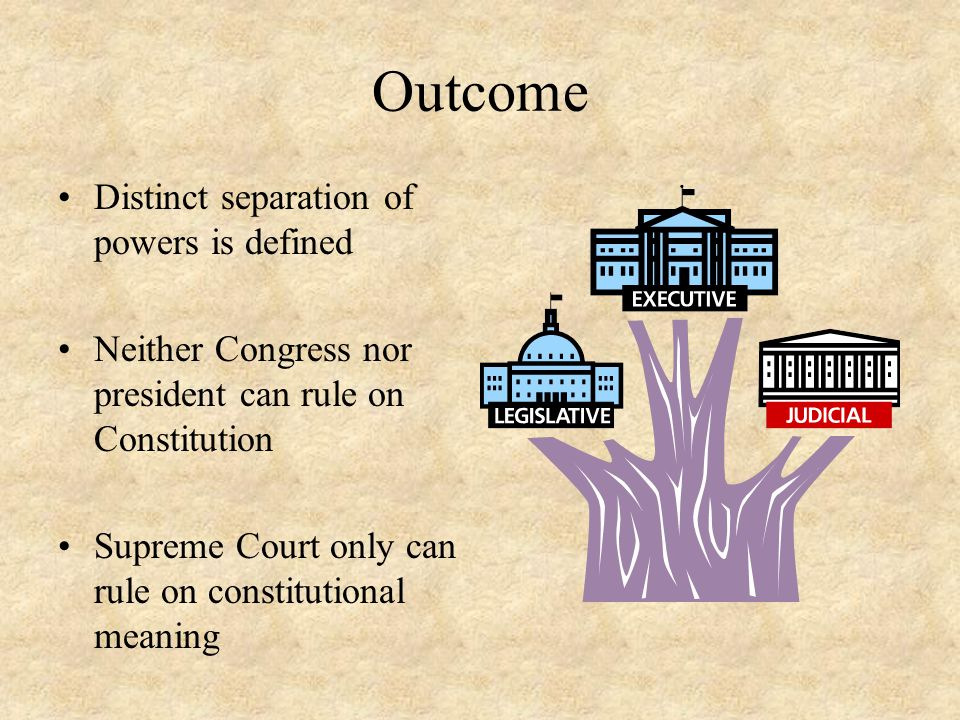 Outcome Distinct separation of powers is defined