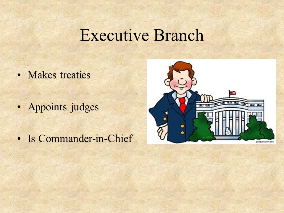 Executive Branch Makes treaties Appoints judges Is Commander-in-Chief