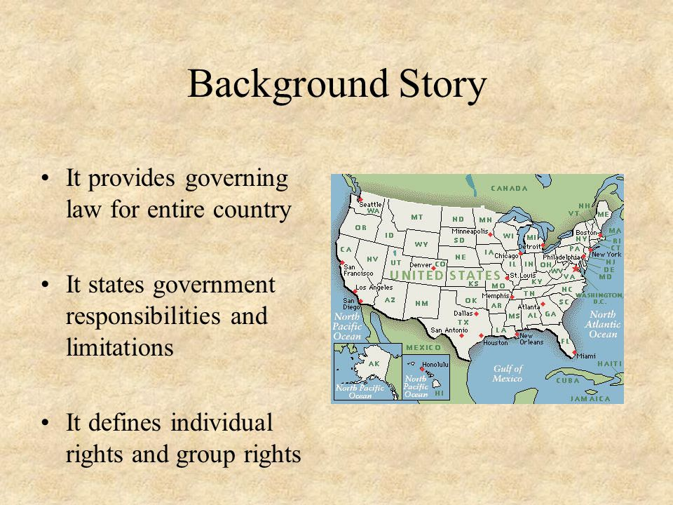 Background Story It provides governing law for entire country