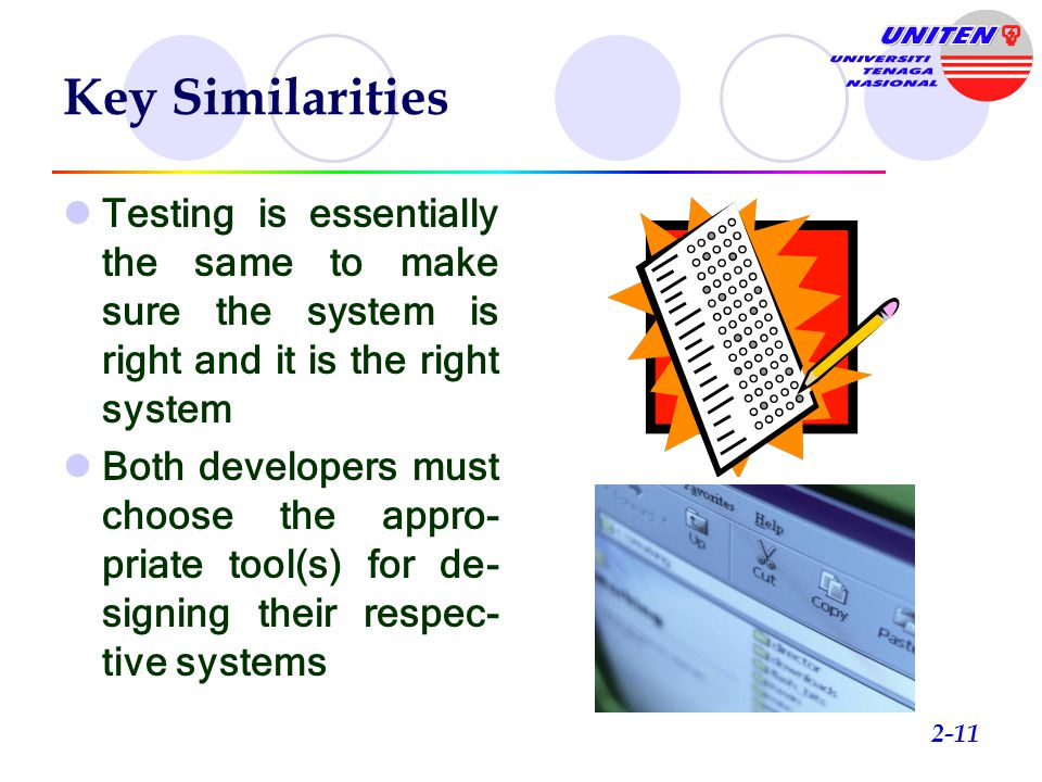 Key Similarities Testing is essentially the same to make sure the system is right and it is the right system.