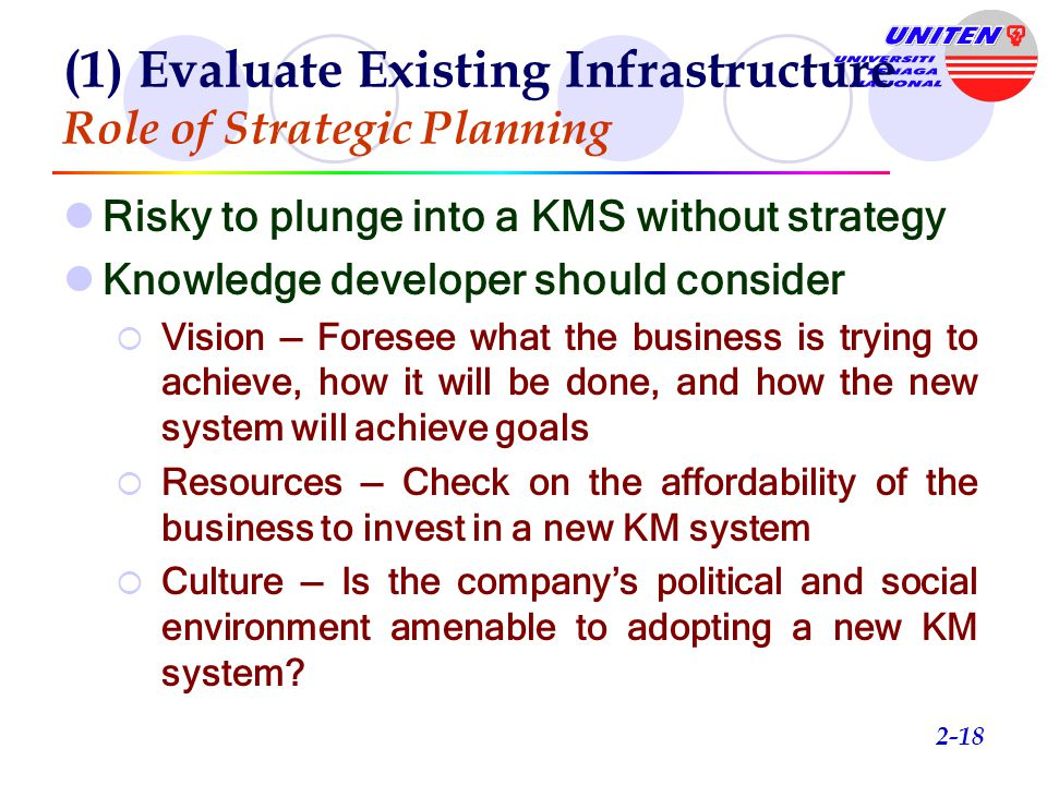 (1) Evaluate Existing Infrastructure Role of Strategic Planning