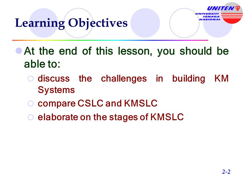 Learning Objectives At the end of this lesson, you should be able to: