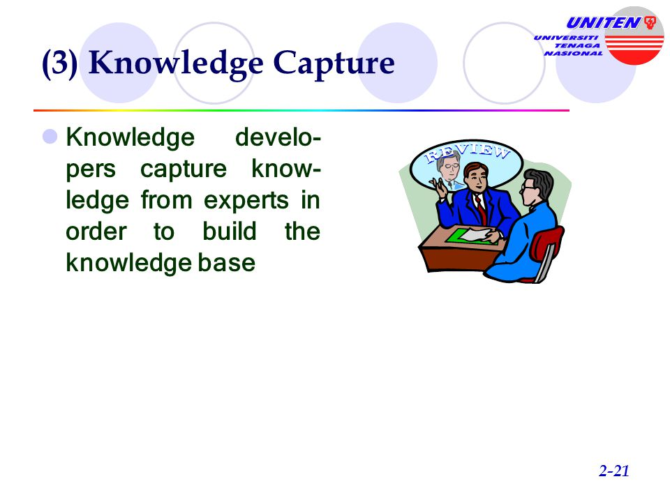 (3) Knowledge Capture Knowledge develo-pers capture know-ledge from experts in order to build the knowledge base.