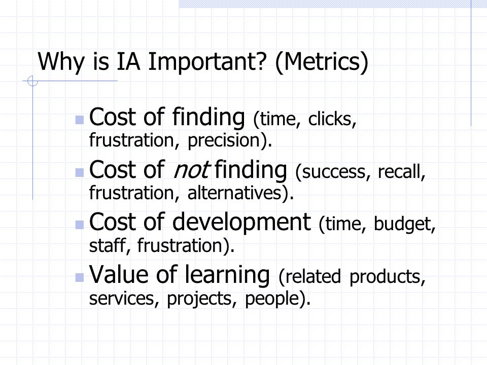 Why is IA Important (Metrics)