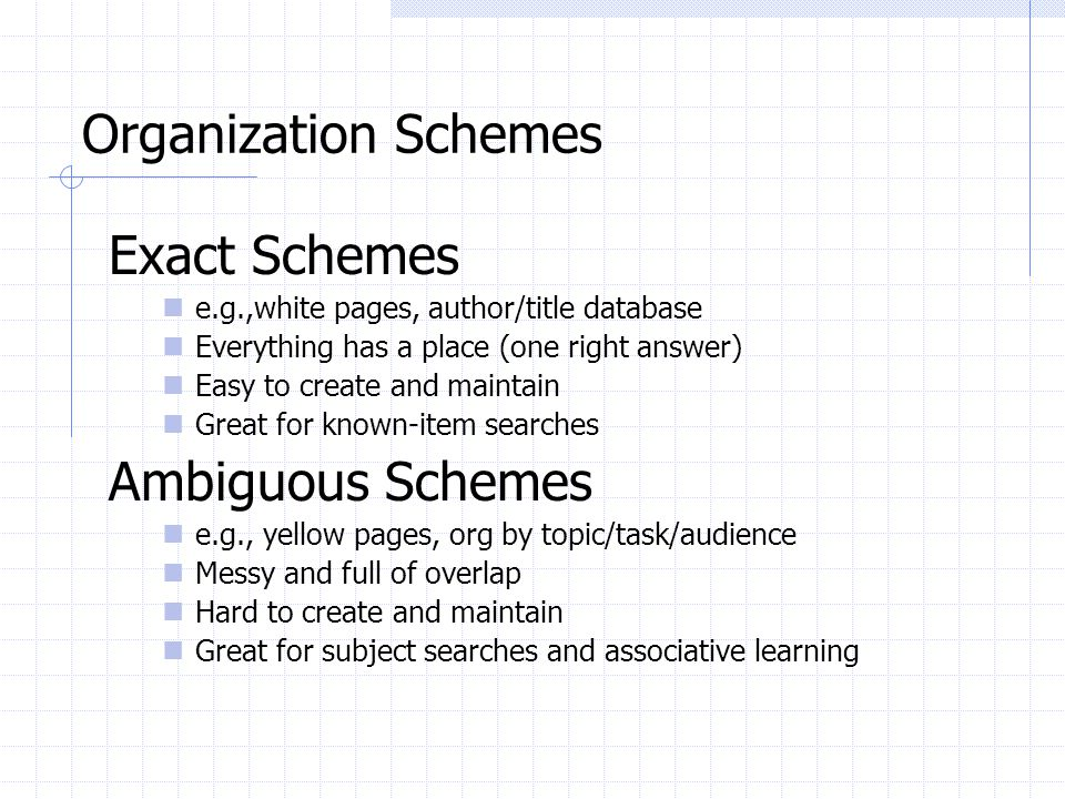 Organization Schemes Exact Schemes Ambiguous Schemes