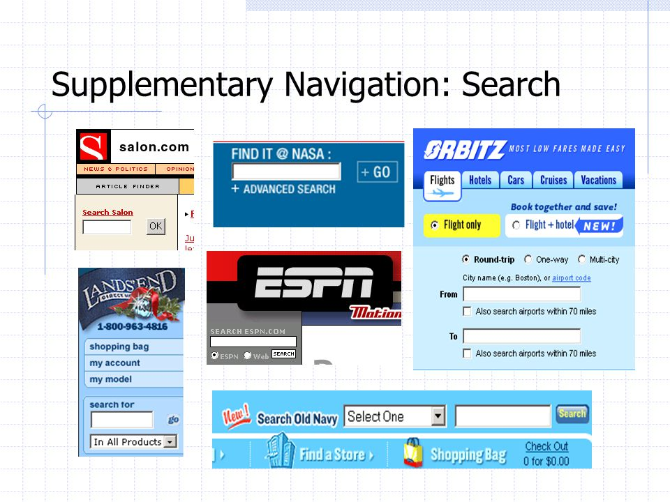 Supplementary Navigation: Search