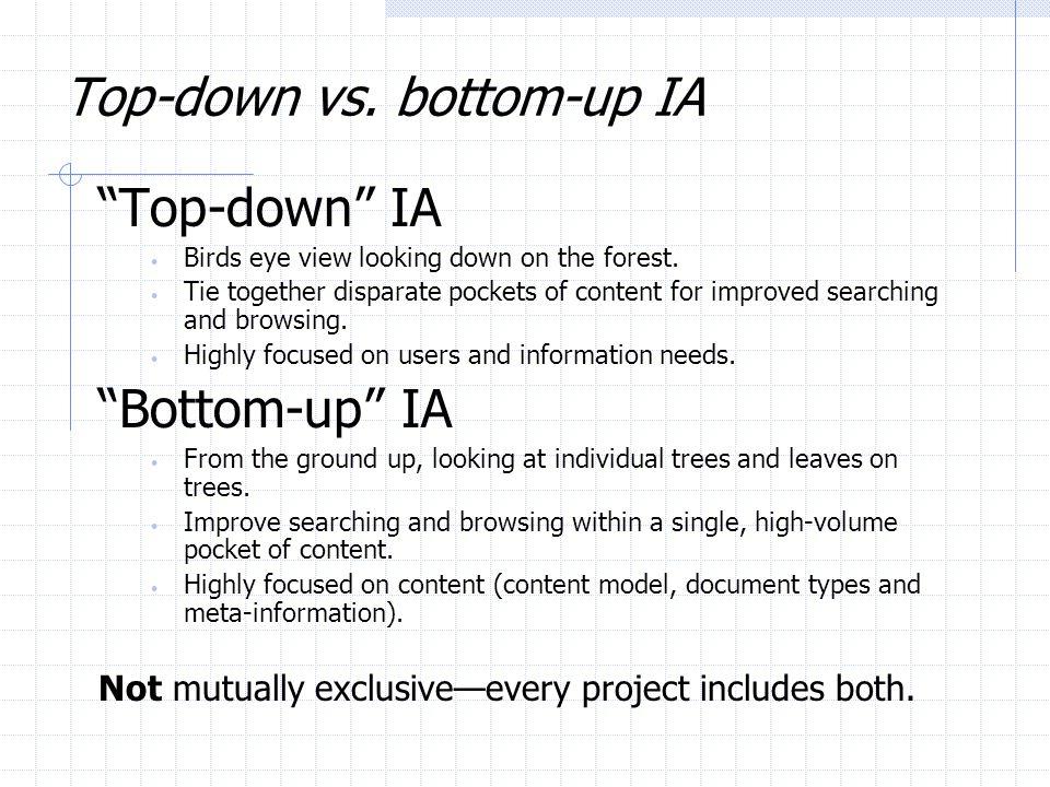 Top-down vs. bottom-up IA