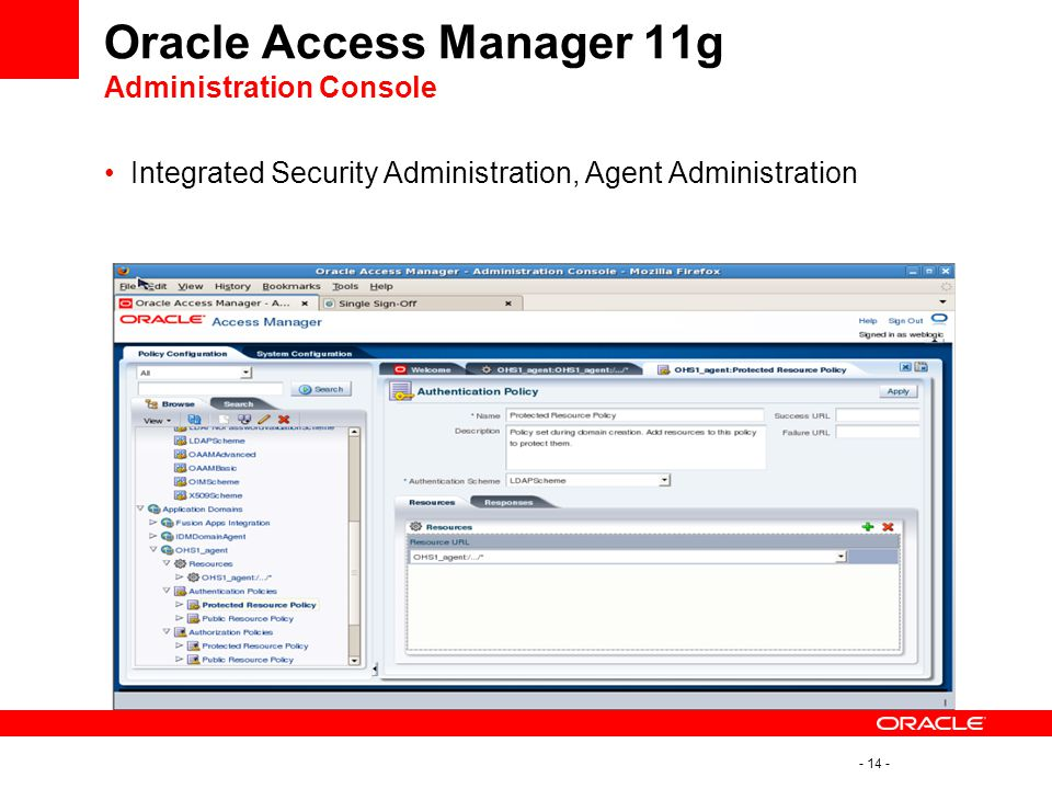 Oracle Access Manager 11g Administration Console
