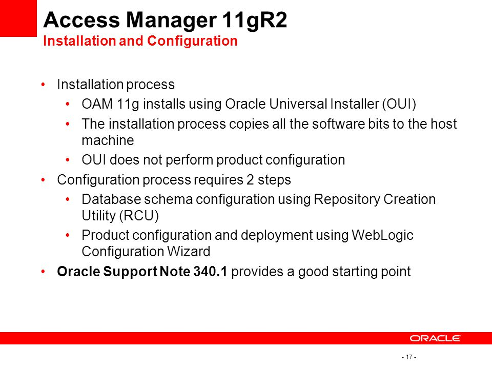 Access Manager 11gR2 Installation and Configuration
