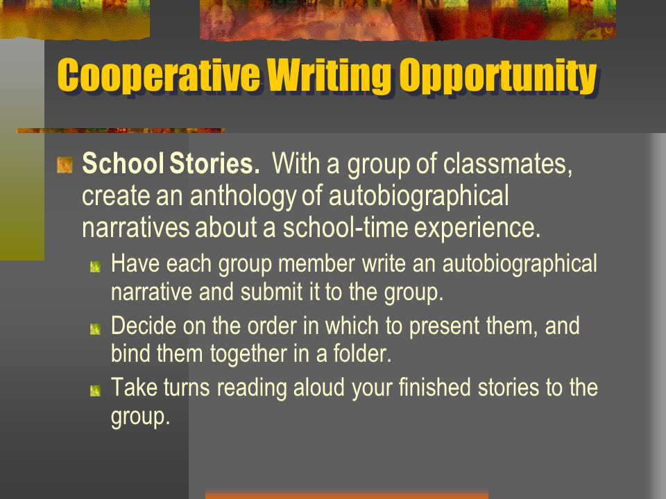 Cooperative Writing Opportunity