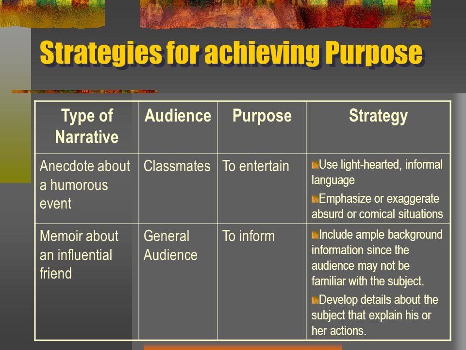 Strategies for achieving Purpose