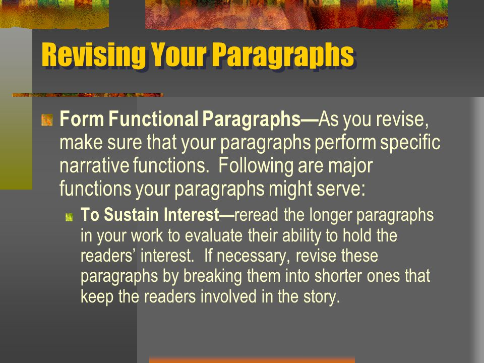 Revising Your Paragraphs