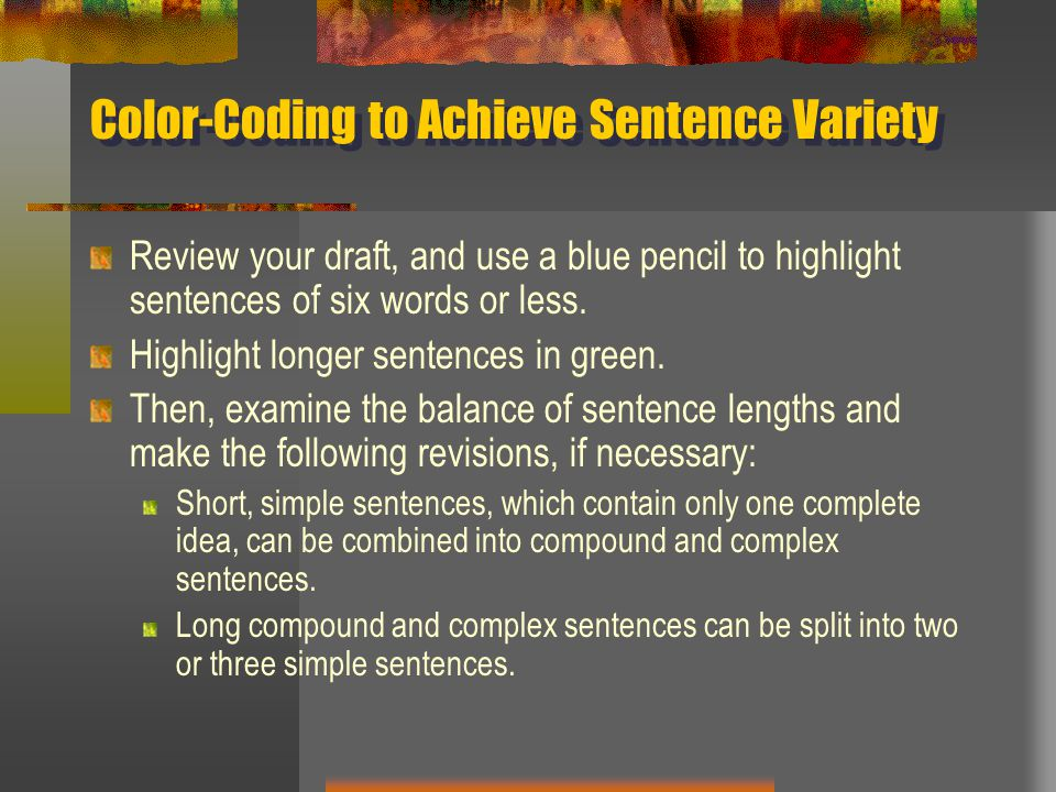Color-Coding to Achieve Sentence Variety