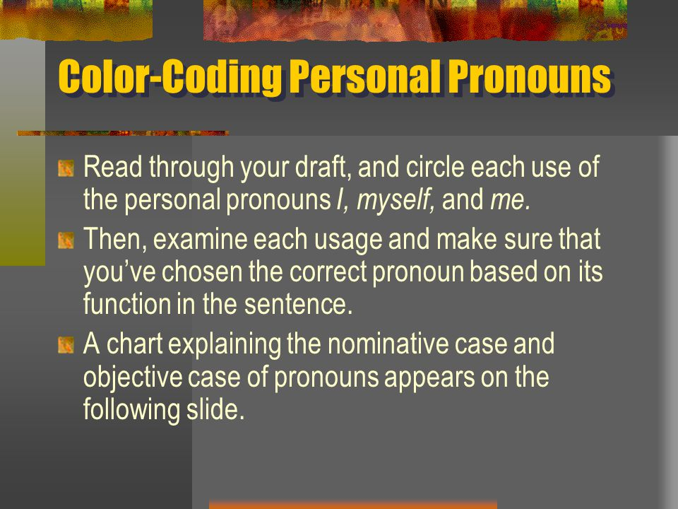 Color-Coding Personal Pronouns
