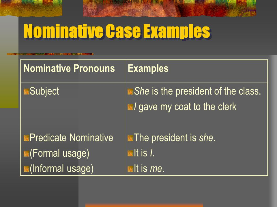Nominative Case Examples