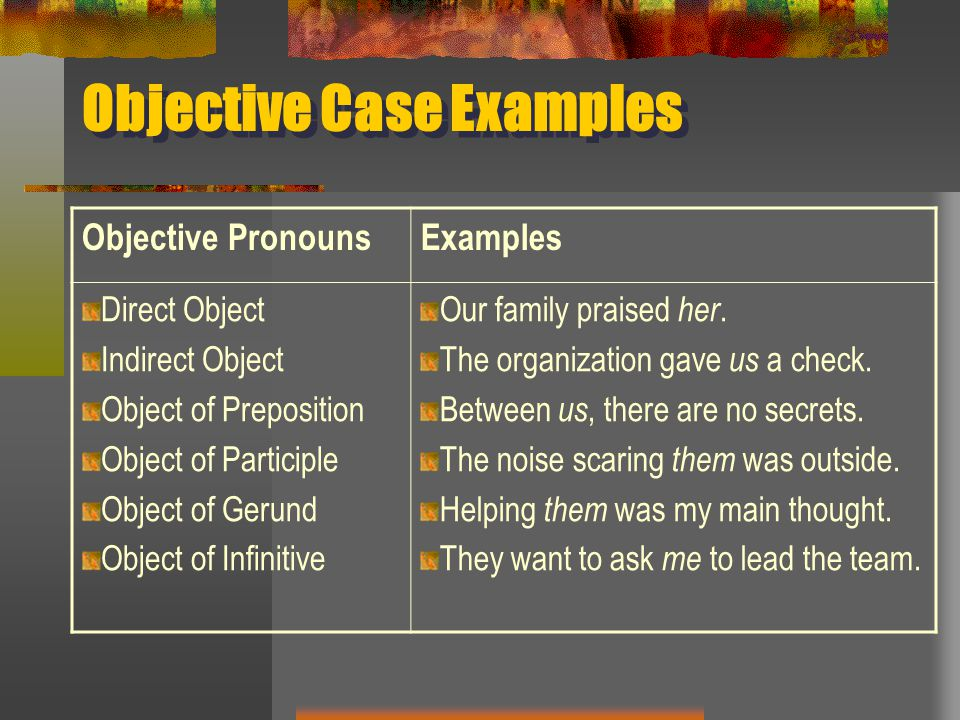 Objective Case Examples