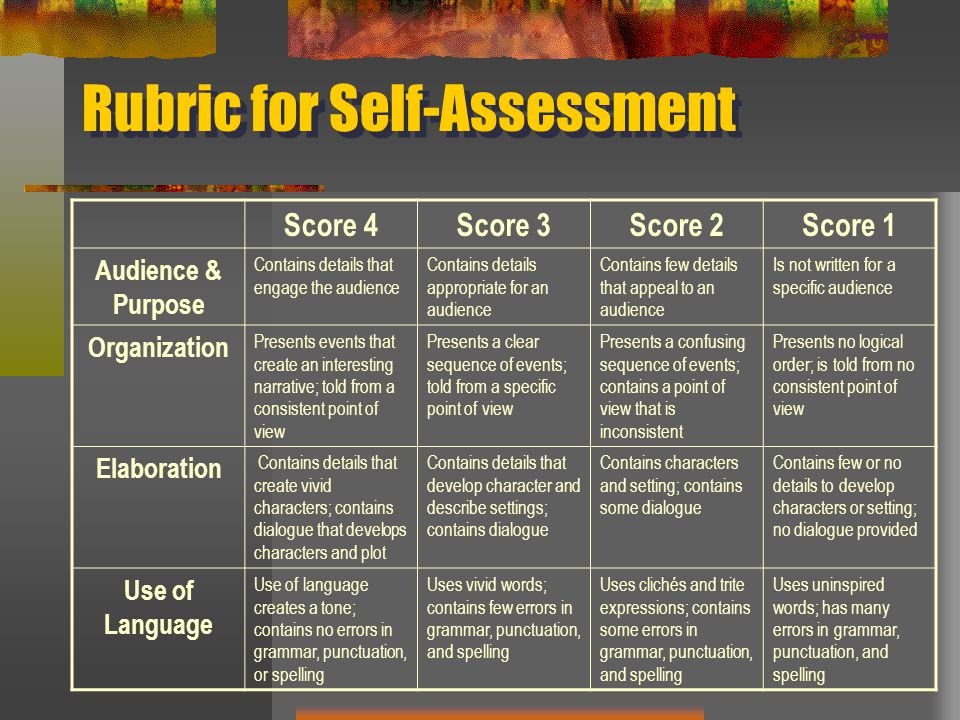 Rubric for Self-Assessment