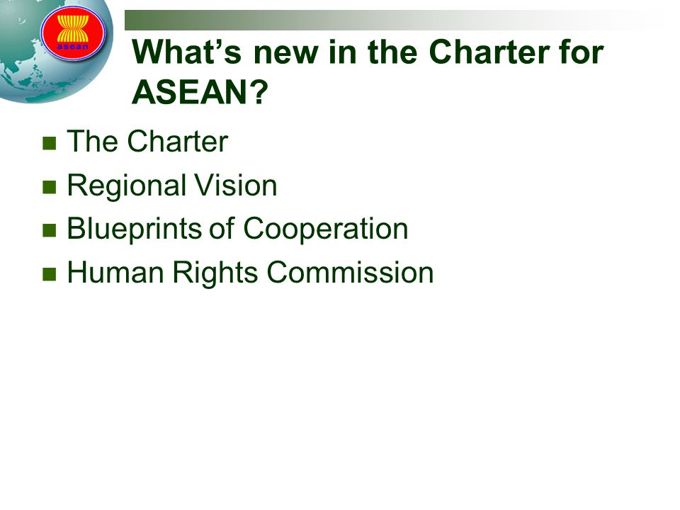 What's new in the Charter for ASEAN