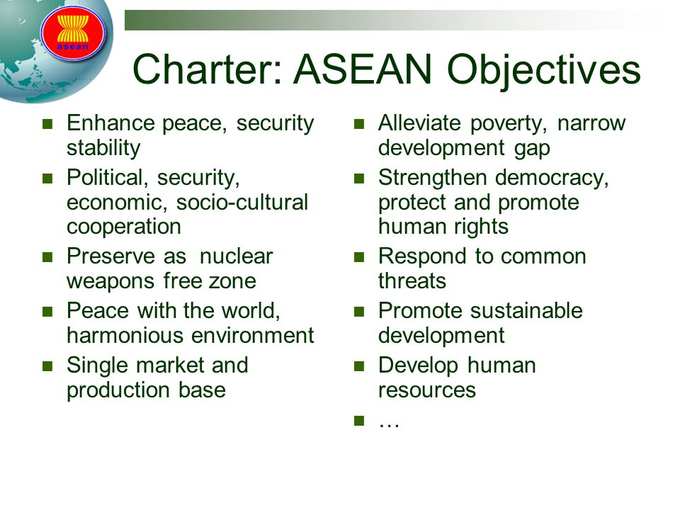 Charter: ASEAN Objectives