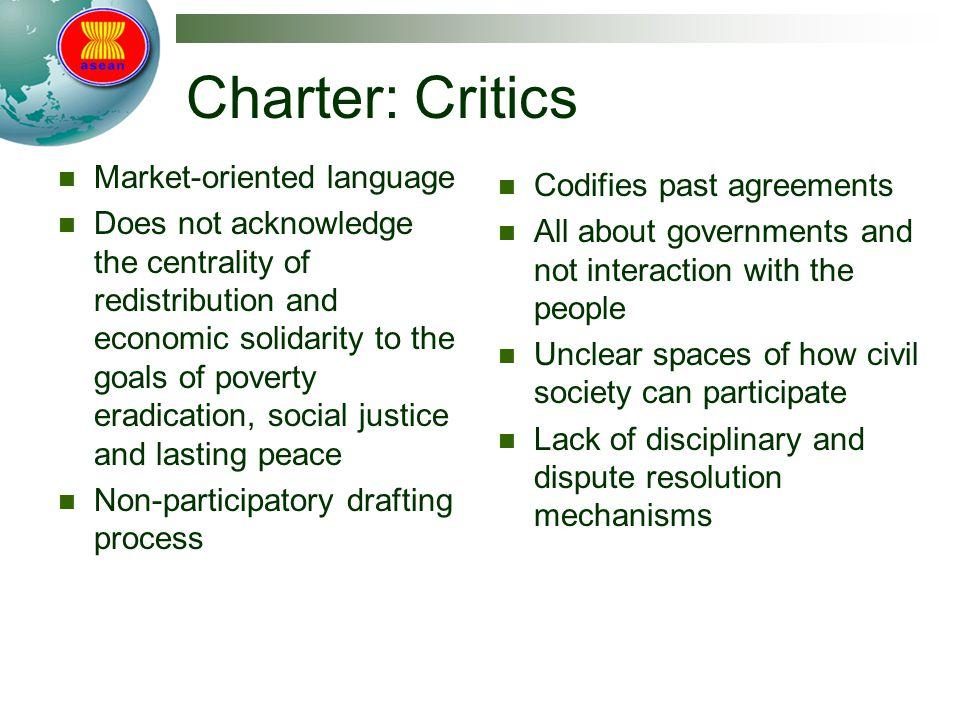 Charter: Critics Market-oriented language Codifies past agreements
