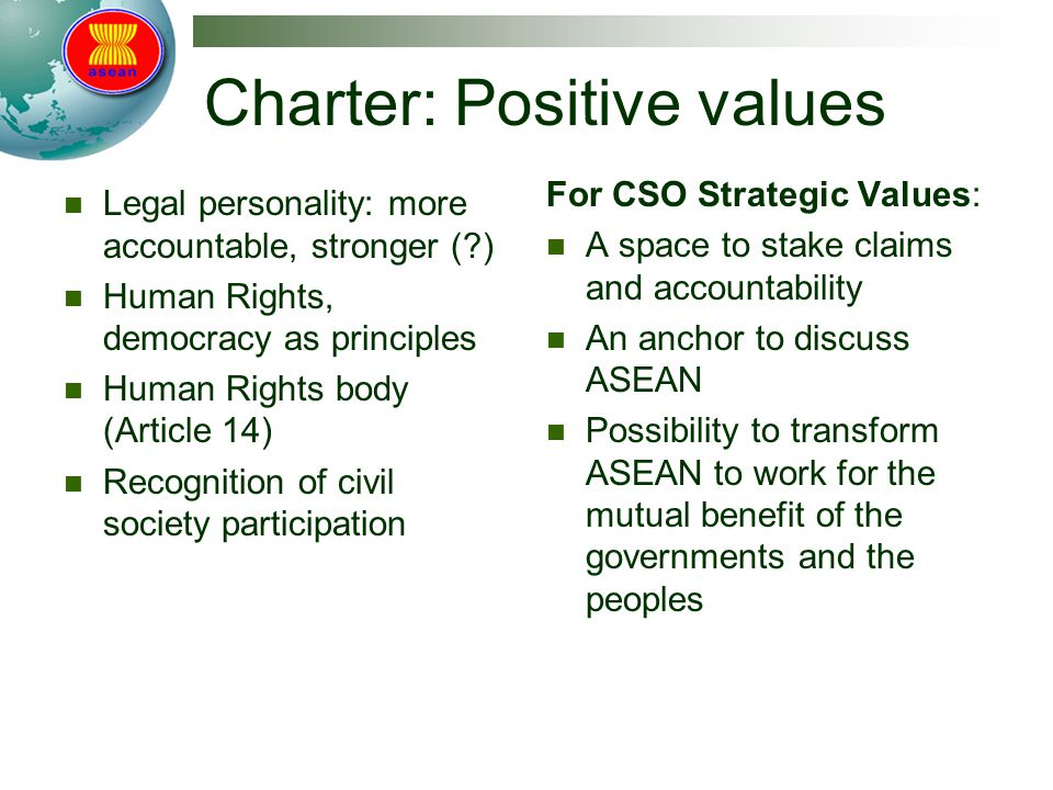 Charter: Positive values