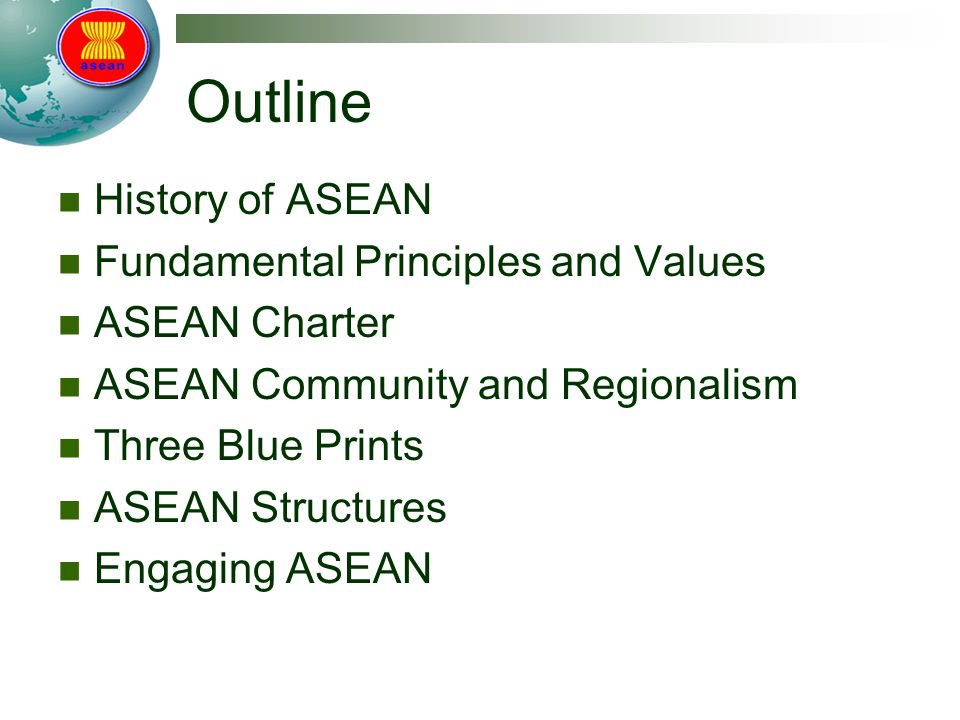 Outline History of ASEAN Fundamental Principles and Values