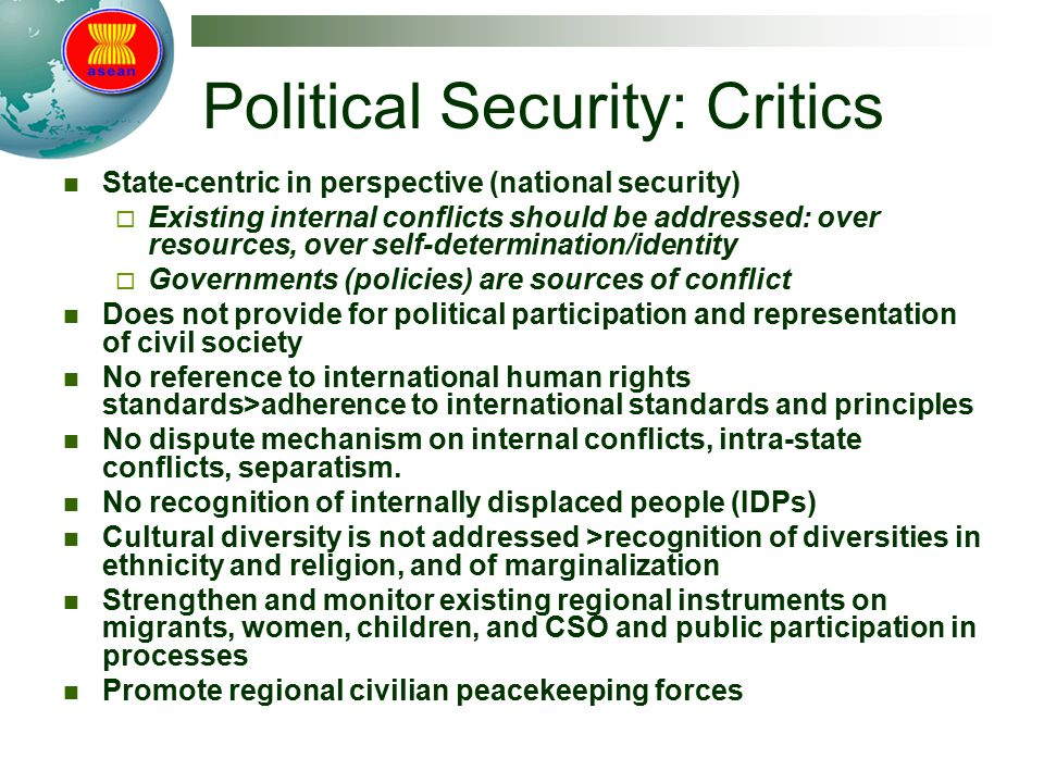 Political Security: Critics