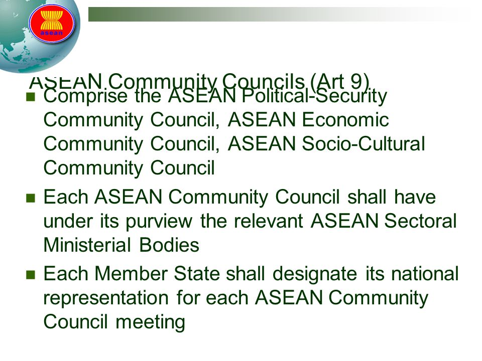 ASEAN Community Councils (Art 9)