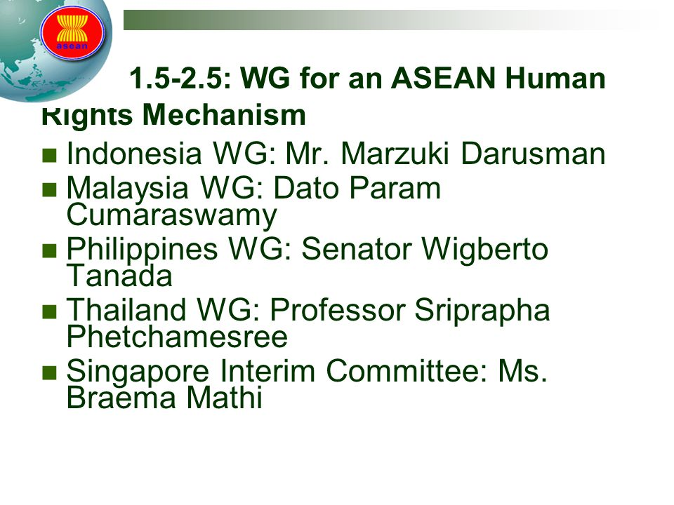 Track 1.5-2.5: WG for an ASEAN Human Rights Mechanism