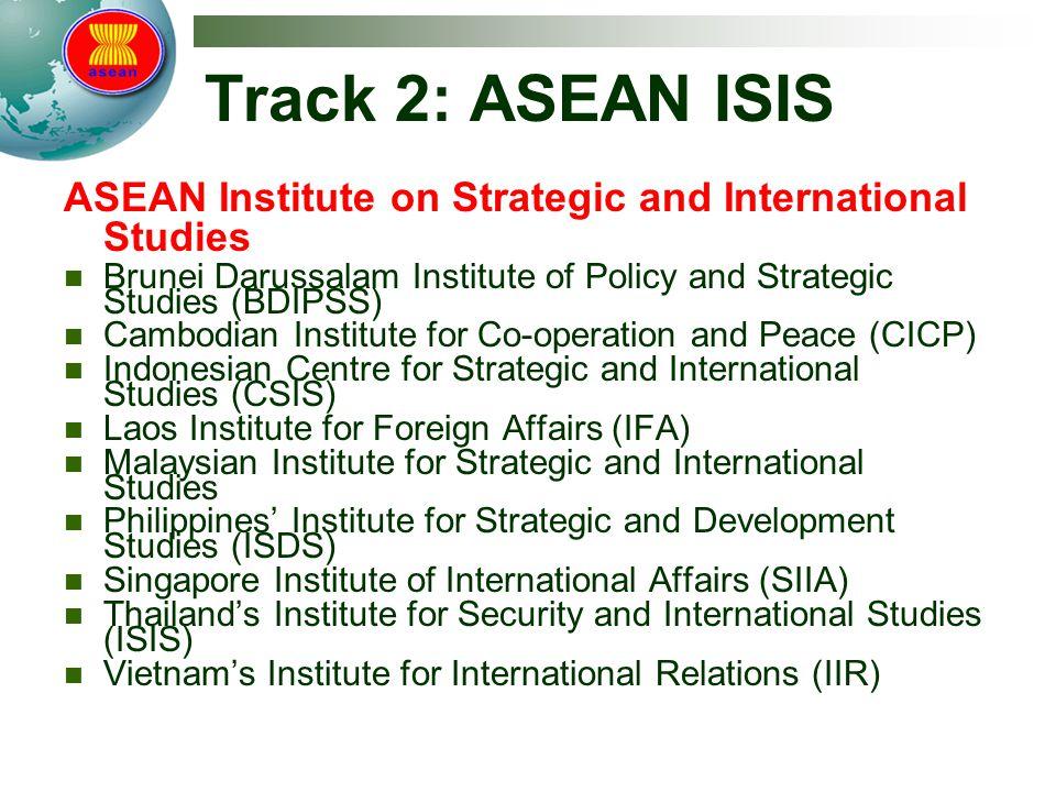 Track 2: ASEAN ISIS ASEAN Institute on Strategic and International Studies. Brunei Darussalam Institute of Policy and Strategic Studies (BDIPSS)