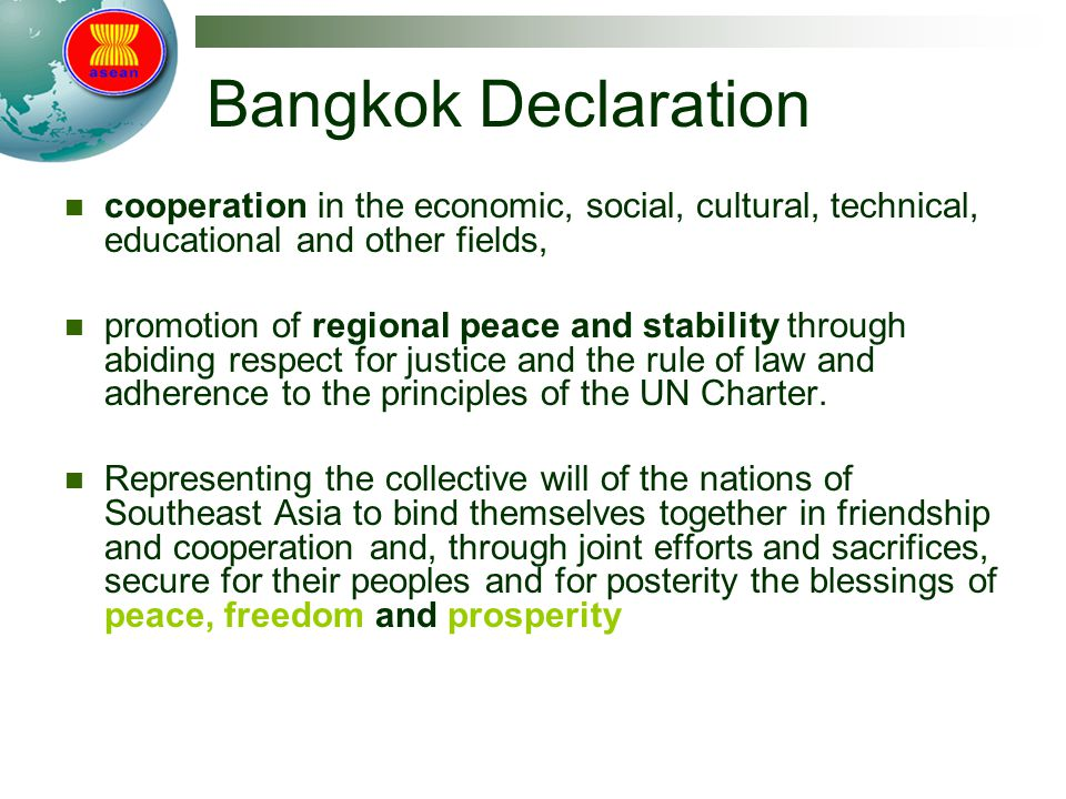 Bangkok Declaration cooperation in the economic, social, cultural, technical, educational and other fields,