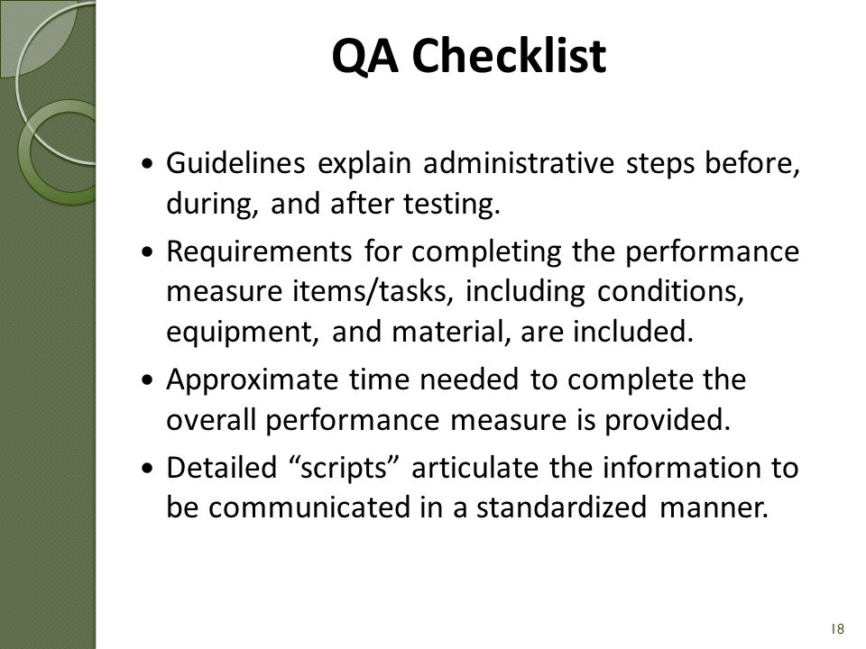 QA Checklist Guidelines explain administrative steps before, during, and after testing.
