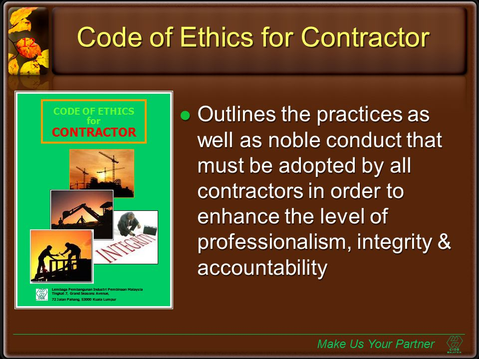Code of Ethics for Contractor
